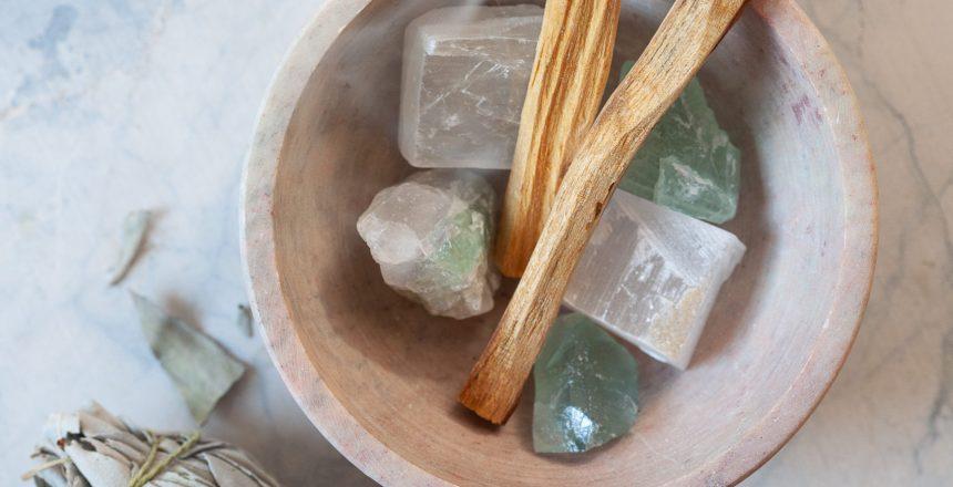 Crystals and Sage Still Life